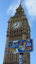 Big ben board visual pollution Royalty Free Stock Photo