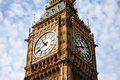 Big ben clock face of of the houses of parliament in westminster london england uk which was built on the site of the royal palace Stock Image