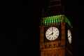 Big ben clock face a night time picture of the westminster tower Royalty Free Stock Photo