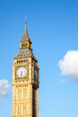 Big ben clock tower close up of against blue sky england united kingdom Stock Photos