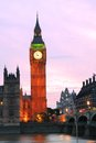Big ben clock tower in the evening with colorful sky Royalty Free Stock Images