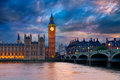 Big Ben Clock Tower London at Thames River Royalty Free Stock Photo