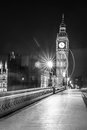 Big ben clock tower and parliament house at city of westminster black white Stock Images