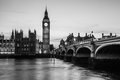 Big ben clock tower and parliament house at city of westminster black white Stock Photo