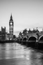 Big ben clock tower and parliament house at city of westminster black white Royalty Free Stock Photo