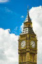 Big ben closeup with clouds clock london uk Stock Photos