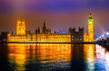 The big ben and the house of parliament london westminster bridge at night uk Royalty Free Stock Image