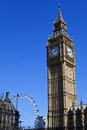 Big ben houses of parliament and the london eye in Stock Photos