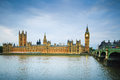 Big ben houses of parliament thames river and bridge london uk westminster europe Stock Photography