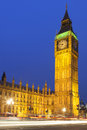 Big ben illuminated at night in london england Stock Photography