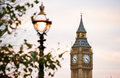 Big ben in london clocktower and lamplight Stock Photo