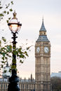 Big ben in london clocktower and lamplight Royalty Free Stock Photography