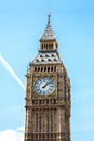 Big ben london close up of clock tower against blue sky england united kingdom Stock Image
