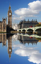 Big ben in london england with bridge Stock Photo
