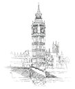 Big ben london england uk travel europe old fashioned background hand drawn illustration vector vintage illustration collection Stock Photography