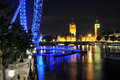 Big ben  and London eye in London at night Royalty Free Stock Photography