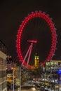 Big ben through london eye by night in Stock Photos
