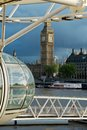 Big ben and london eye skyline with westminster in Stock Image