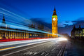 Big Ben and London at night with the lights of the cars passing Royalty Free Stock Photo