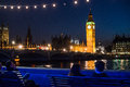 Big ben in london united kingdom night view of house of parliament and Royalty Free Stock Images