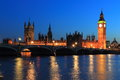 Big ben at night and houses of parliament in london england Stock Image
