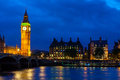 Big ben at night london england view of westminster bridge and Royalty Free Stock Photos