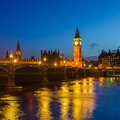 Big ben at night london and houses of parliament uk Stock Images