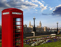 Big ben with red phone booth in london england a traditional box against Royalty Free Stock Photography