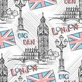 Big ben seamless vector background with londons Stock Photography