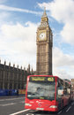 Big ben and single decker Royalty Free Stock Photography