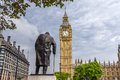 Big Ben and statue of Winston Churchill Royalty Free Stock Photo