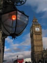 Big ben and street light at cloudscape day Royalty Free Stock Photo