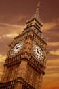 Big ben at sunset Stock Images