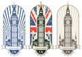 Big ben three posters with and the british flag Stock Photos
