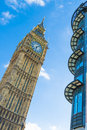 The big ben tower magnificent against blue sky london uk Royalty Free Stock Images