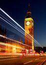 Big ben with traffic light trail in london s from passing transport Royalty Free Stock Photography