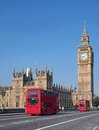 Big ben and westminster bridge with double decker bus Stock Images