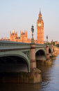 Big ben westminster bridge early morning portrait houses of parliament on a summer in london uk Stock Images