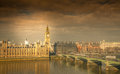 Big ben and westminster bridge london landmark parliament on a stormy day england uk Stock Image