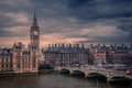 Big ben and westminster bridge london landmark on a stormy day england uk Royalty Free Stock Image