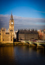 Big ben and westminster bridge london landmark on a stormy day england uk Royalty Free Stock Photo