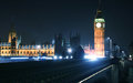 Big ben and westminster bridge in london night view of house of parliament seen from Stock Photography
