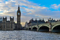 The big ben and westminster bridge in london with river thames Royalty Free Stock Photography