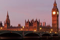 Big ben and westminster bridge palace behind Royalty Free Stock Photos