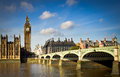 Big ben and westminster bridge view of Royalty Free Stock Images