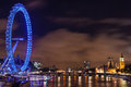 Big ben westminster and london eye at night august bridge with on august Royalty Free Stock Photography