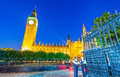 Big Ben and Westminster Palace colors at sunset, London Royalty Free Stock Photo