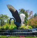 Big black swan statue on green forest and grass with blue sky and water flow - photo Royalty Free Stock Photo