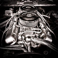 Big block chevrolet engine in vintage muscle car v with twin carburetor and raw power performance horsepower boost accessories an Stock Images