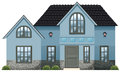 A big blue house illustration of on white background Stock Photo